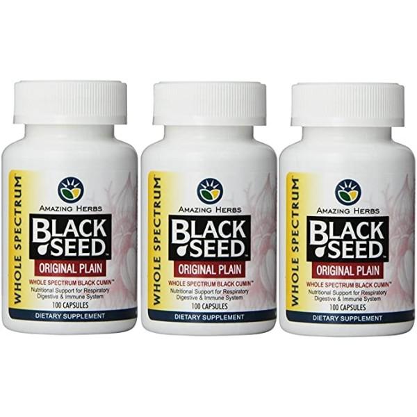 Amazing Herbs Black Seed Original Plain 100 Capsules