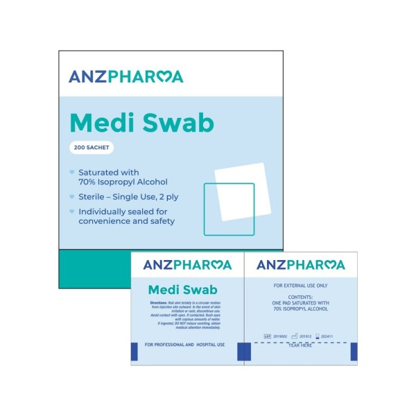 ANZ Pharma Medi Swab 70% Isopropyl Alcohol 200 Sachets