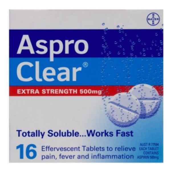 Aspro Clear 500mg 16 Effervescent Tablets