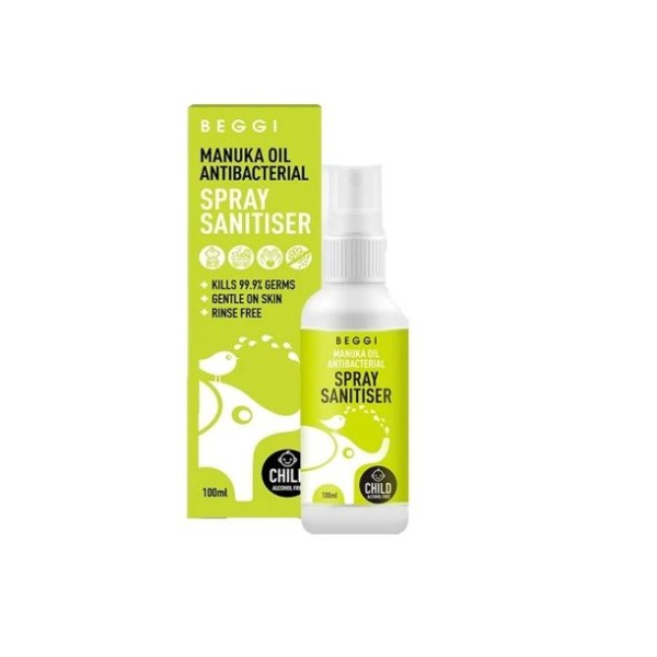 Beggi Manuka Oil Antibacterial Sanitiser Spray Child Safe Alcohol Free 100ml