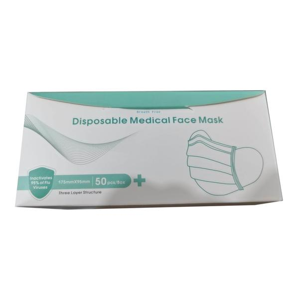 Breath Free Disposable 3-ply Medical Surgical Face Mask 50s