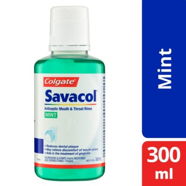 Savacol Antiseptic Mouth & Throat Rinse Original Mint 300ml