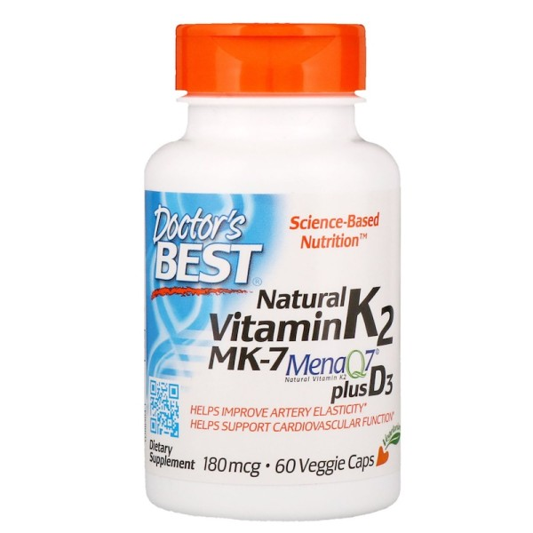 Doctor's Best Artery Natural Vitamin K2 MK-7 with MenaQ7 plus Vitamin D3 180mcg 60 Capsules