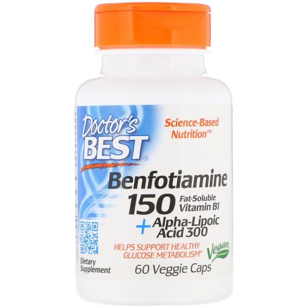 Doctor's Best Benfotiamine 150 + Alpha-Lipoic Acid 300 with BenfoPure 60 Capsules