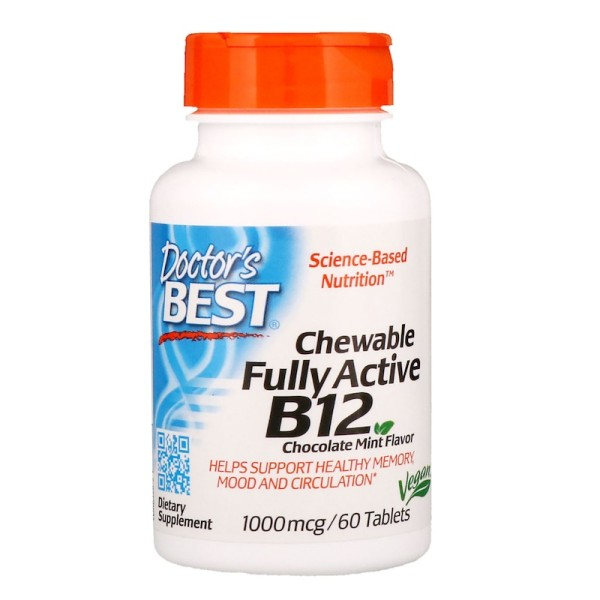 Doctor's Best Chewable Fully Active B12 Chocolate Mint Flavour 1000mcg 60 Tablets