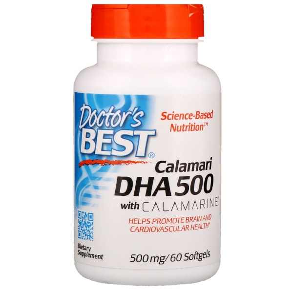 Doctor's Best DHA 500 from Calamari with Calamarine 500mg 60 Softgels