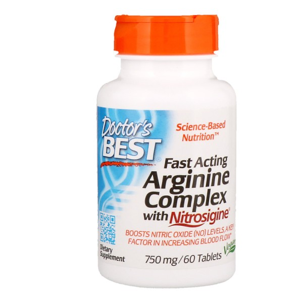 Doctor's Best Fast Acting Arginine Complex with Nitrosigine 750mg 60 Tablets