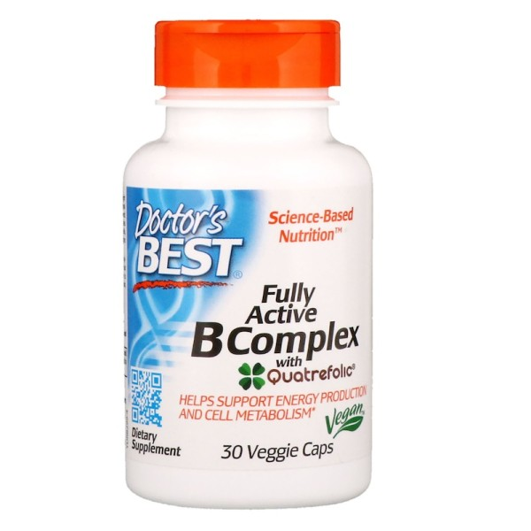 Doctor's Best Fully Active B Complex with Quatrefolic 30 Capsules