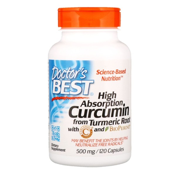 Doctor's Best High Absorption Curcumin with BioPerine 500mg 120 Tablets