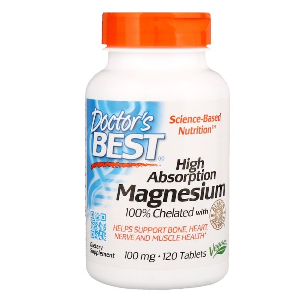 Doctor's Best High Absorption Magnesium 100% Chelated with Albion Minerals 100mg 120 Tablets