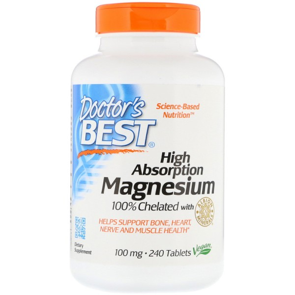 Doctor's Best High Absorption Magnesium 100% Chelated with Albion Minerals 100mg 240 Tablets