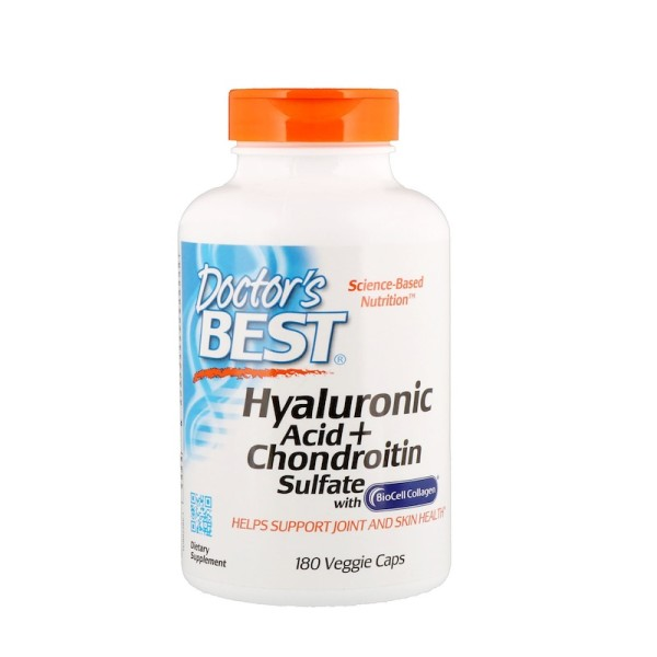 Doctor's Best Hyaluronic Acid Plus Chondroitin Sulfate with Biocell Collagen 180 Capsules