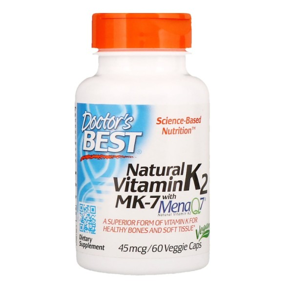 Doctor's Best Natural Vitamin K2 MK-7 with MenaQ7 45mcg 60 Capsules