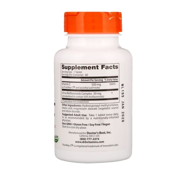 Doctor's Best Sustained Release 12 Hour Vitamin C with Pureway-C 500mg 60 Tablets