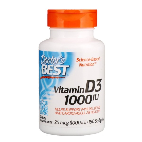 Doctor's Best Vitamin D3 25mcg 1000IU 180 Softgels