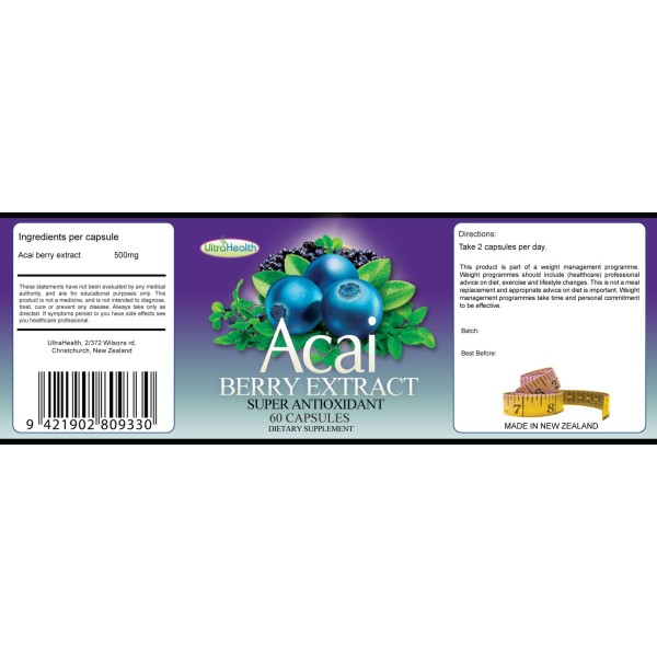 Everyday Health Acai Berry Extract Super Antioxidant 60 Capsules