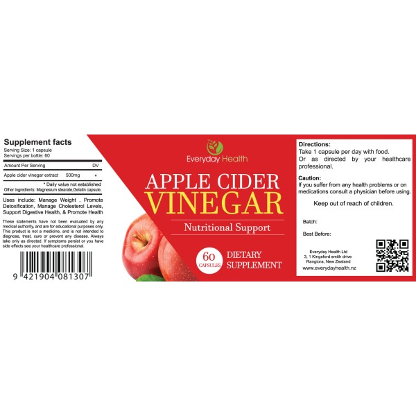 Everyday Health Apple Cider Vinegar 60 Capsules