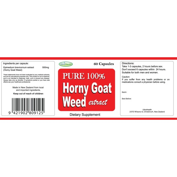 Everyday Health Horny Goat Weed Extract 500mg 60 Capsules