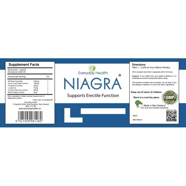 Everyday Health Niagra Erectile Function Support 60 Capsules