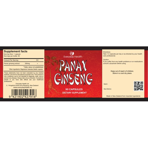 Everyday Health Panax Ginseng 90 Capsules