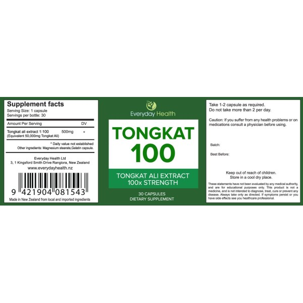 Everyday Health Tongkat 100 Tongkat Ali Extract 30 Capsules