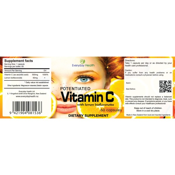 Everyday Health Vitamin C with Lemon Bioflavonoids 60 Capsules