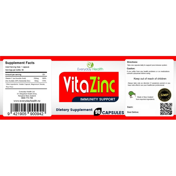 Everyday Health VitaZinc Immunity Support 90 Capsules