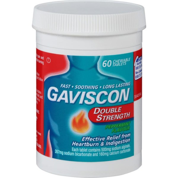 Gaviscon Double Strength Peppermint Flavour 60 Chewable Tablets