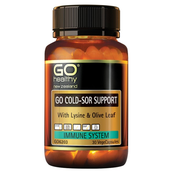 GO Healthy GO Cold Sor Support with Lysine & Olive Leaf 30 Capsules