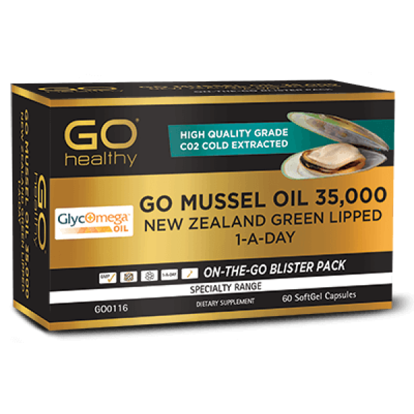 GO Healthy GO Mussel Oil 35,000mg New Zealand Green Lipped 1 A Day 60 Softgels Capsules