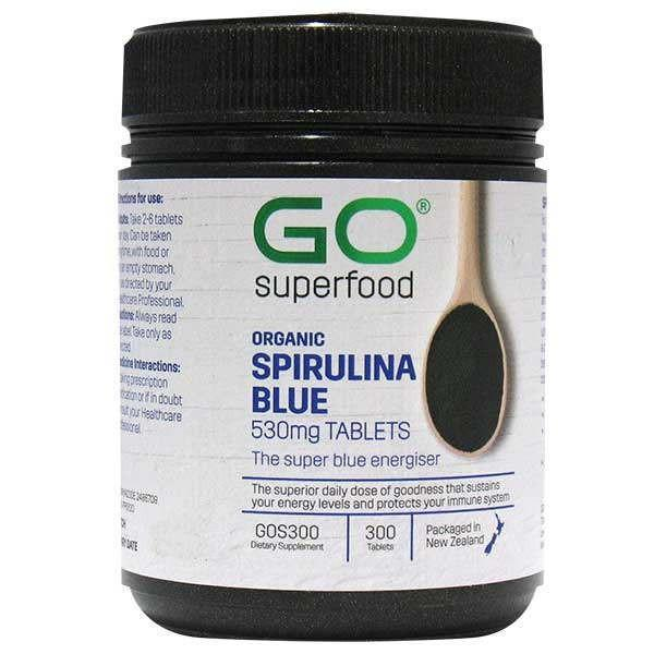GO Healthy GO Superfood Organic Spirulina Blue 530mg 300 Tablets