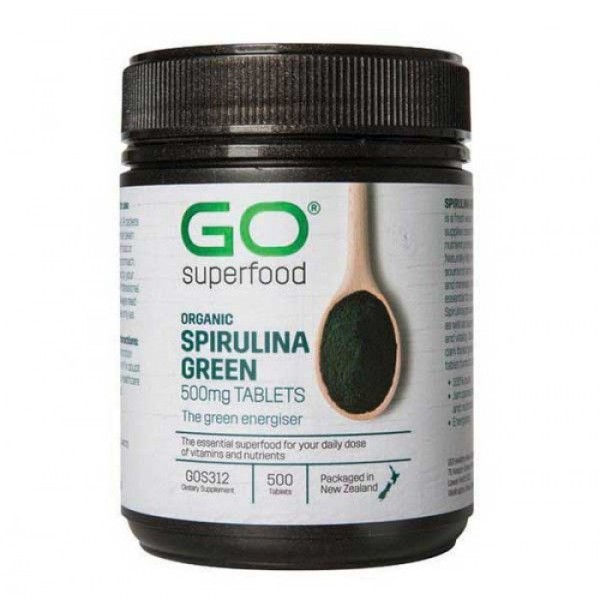 GO Healthy GO Superfood Organic Spirulina Green 500mg 500 Tablets