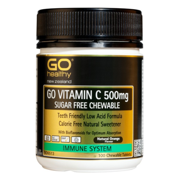 GO Healthy GO Vitamin C 500mg Sugar Free Chewable 100 Tablets