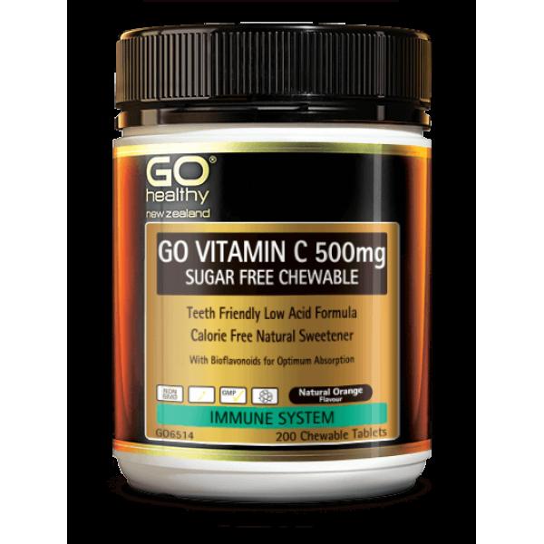 GO Healthy GO Vitamin C 500mg Sugar Free Chewable 200 Tablets