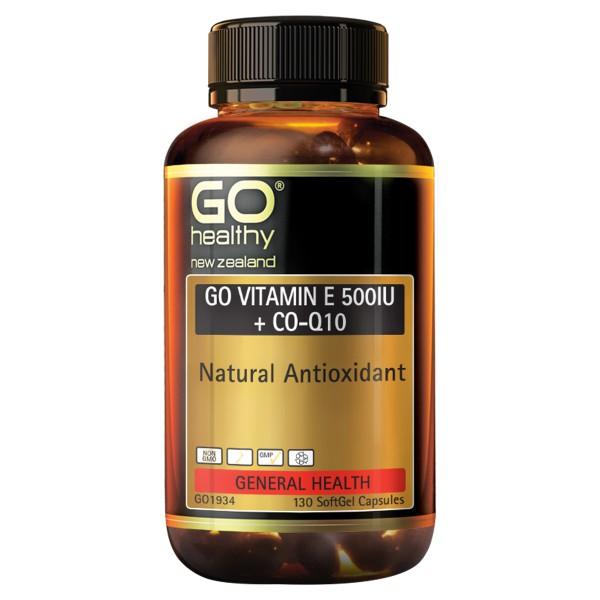 GO Healthy GO Vitamin E 500IU + Co-Q10 130 Capsules