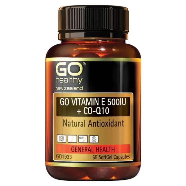GO Healthy GO Vitamin E 500IU + CoQ10 65 Capsules