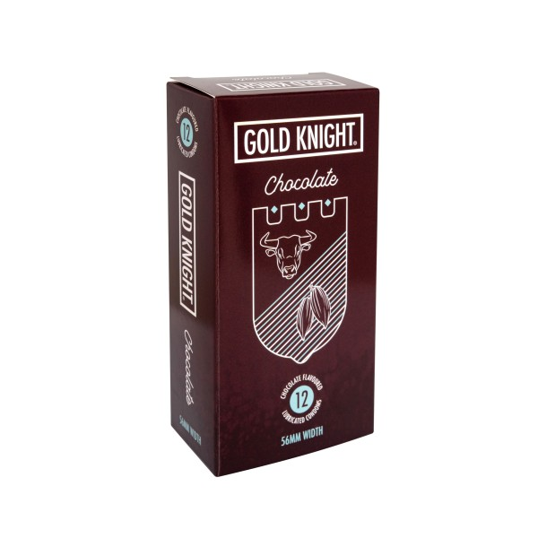 Gold Knight Condoms Chocolate Flavoured 56mm Width 12s