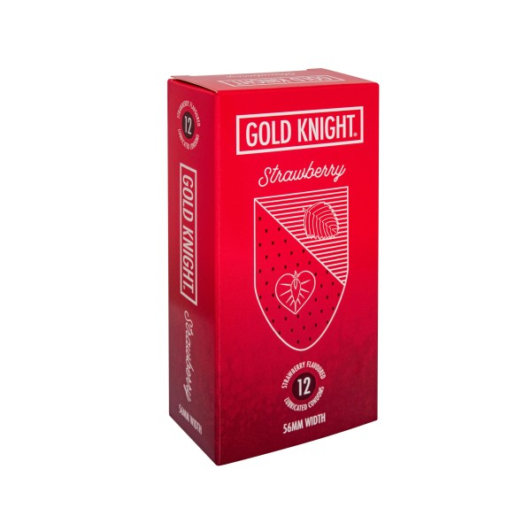 Gold Knight Condoms Strawberry Flavoured 56mm Width