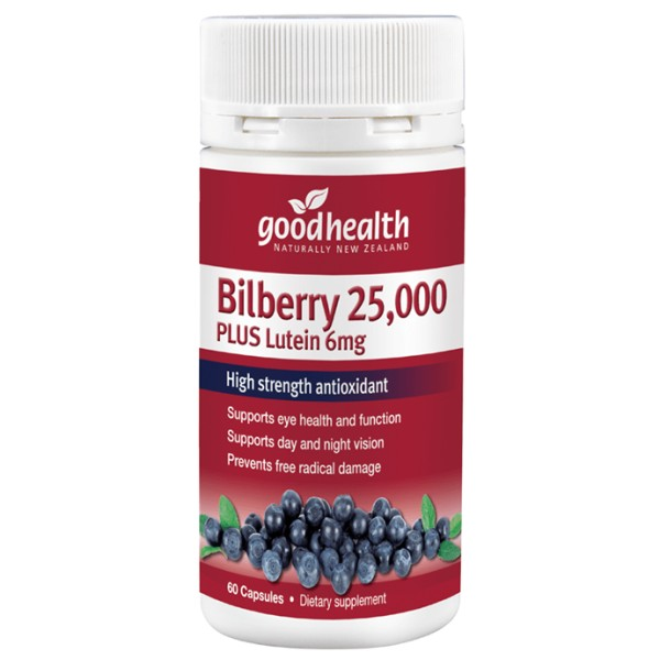 Good Health Bilberry 25000mg Plus Lutein 6mg 60 Capsules