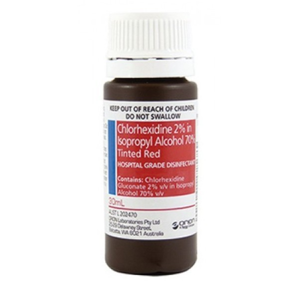 Chlorhexidine 2% in Isopropyl Alcohol 70% Tinted Red Solution 30ml