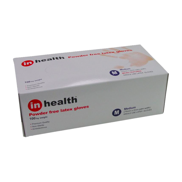 In Health Powder Free Latex Gloves Medium Size Box Of 100