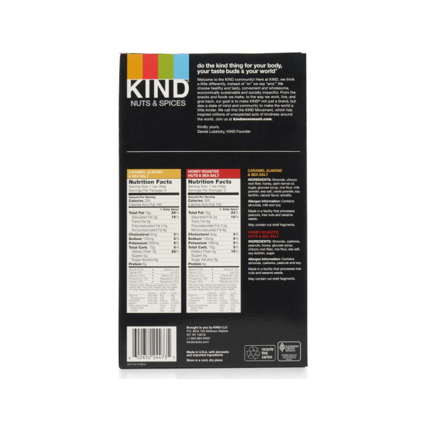 Kind Nut Bars Caramel Almond & Sea Salt 40g Box Of 12