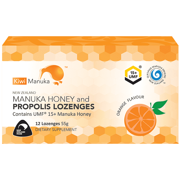 Kiwi Manuka Manuka Honey UMF 15+ 12 Lozenges Orange
