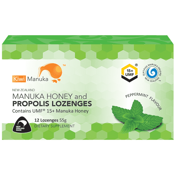 Kiwi Manuka Manuka Honey UMF 15+ 12 Lozenges Peppermint