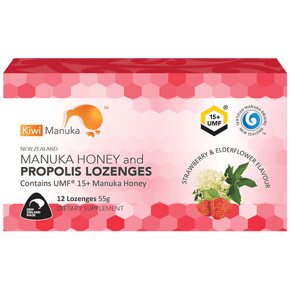 Kiwi Manuka Manuka Honey UMF 15+ 12 Lozenges Strawberry