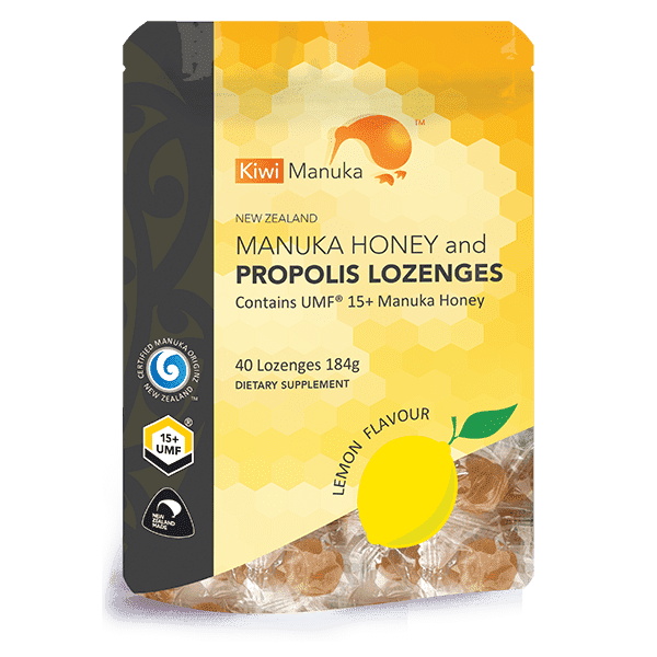 Kiwi Manuka Manuka Honey UMF 15+ 40 Lozenges Lemon