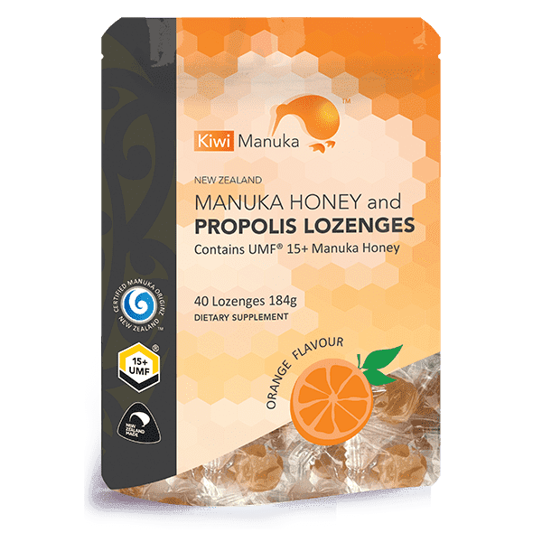Kiwi Manuka Manuka Honey UMF 15+ 40 Lozenges Orange