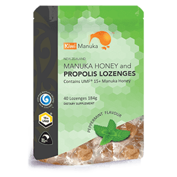 Kiwi Manuka Manuka Honey UMF 15+ 40 Lozenges Peppermint