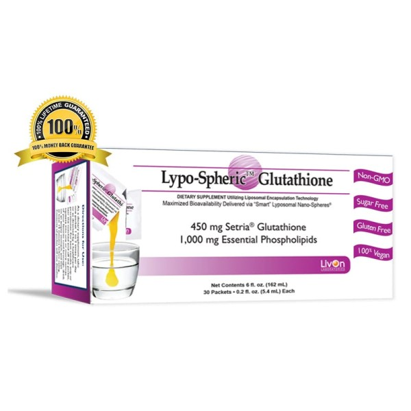 Livon Labs Lypo-Spheric GSH Glutathione 450mg 30 Pack 5.4ml each