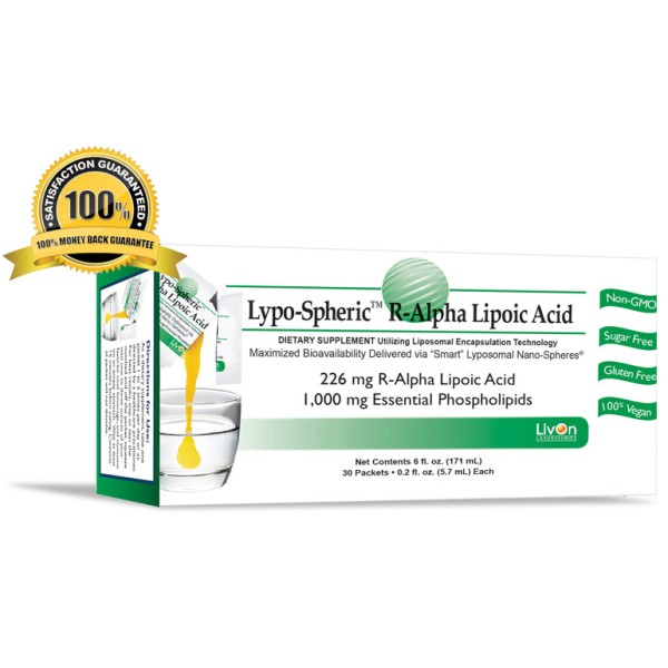 Livon Labs Lypo-Spheric R-Alpha Lipoic Acid 30 Pack 5.7ml Each